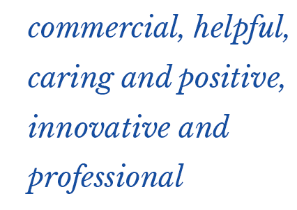 commercial, helpful, caring and positive, innovative and professional