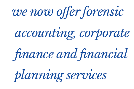 we now offer forensic accounting, corporate finance and financial planning services
